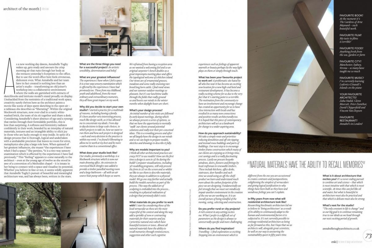 """""""Architect of the Month"""" – Enki Magazine - Annabelle Tugby"""